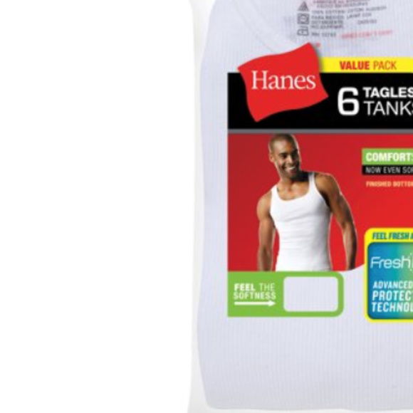 6 pack Hanes men's white tank top chose your size